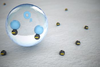 <p>Oxygen molecules in the air take on negative electrones.</p>