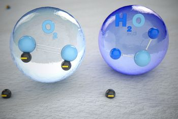 <p>Negatively charged oxygen collide with water molecules in the air.</p>