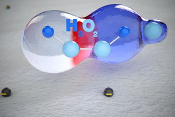 <p>This results in H<sub>2</sub>O<sub>2</sub> and O, i.e., hydrogen peroxide and oxygen.</p>
