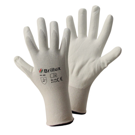 Nitrile Protective Gloves, White, Part-Coated